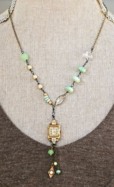 Madeline.glass beaded, crystal, pearl, watch necklace. tiedupmemories
