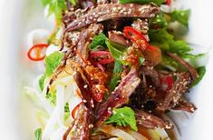Lamb noodle salad with chilli and mint recipe from celeb chef Jamie Oliver. Get more Jamie Oliver recipes at Nourish magazine. Mint Recipes, Lamb Recipes, Roast Recipes, Summer Recipes, Salad Recipes, Healthy Cooking, Healthy Snacks, Healthy Eating, Cooking Recipes