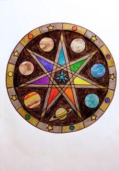Original drawing pagan wiccan mandala planets and by CrochetedMoon