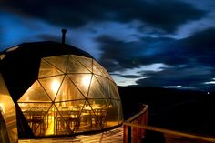 Geodesic community domes in Patagonia