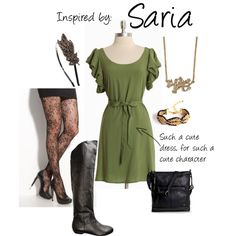 """GAH! I need this in my closet! :'3 My favorite Zelda character too!    LOVE LOVE LOVE LOVE LOVE LOVE LOVE LOVE LOVE!!!!""""Saria (Legend of Zelda: Ocarina of Time)"""" by ladysnip3r on Polyvore"""