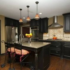 Distressed Black Kitchen Cabinets condo galley kitchen; black cabinets | kitchen | pinterest