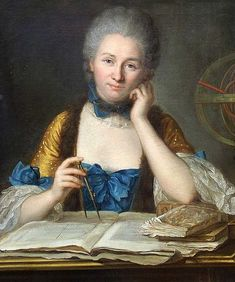 Émilie du Châtelet wielding dividers, with armillary sphere, books and diagrams. By Maurice Quentin de La Tour.