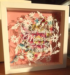 Memories Papercut framed art sympathy gift by BarnyBeeDesigns