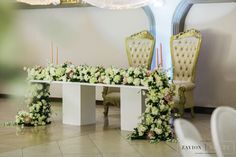 Rose bridal table,  White roses, orchids mass arrangements, rose gold candles Rose Gold Candle, Gold Candles, Green Wedding, Wedding Flowers, Bridal Table, Event Company, White Roses, Orchids, Wedding Planner