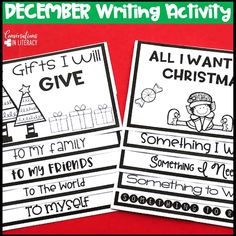 FUN December Holiday Writing Activities & Christmas Craft for elementary classrooms- Christmas FlipBook 2 different flip books- both in color &in black & white, use with toppers & without December writing prompts for kids #Christmaswriting #holidaycraft #decemberwriting #Christmasactivity #bulletinboard #foldable #december #elementary #classroom #conversationsinliteracy 1st grade, 2nd grade, 3rd grade, 4th grade, 5th grade #firstgrade #secondgrade #thirdgrade #fourthgrade #fifthgrade