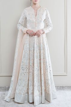 Buy Embroidered Anarkali with Dupatta by Falguni Shane Peacock at Aza Fashions Pakistani Dress Design, Pakistani Dresses, Indian Dresses, Kurti Designs Party Wear, Kurti Neck Designs, Indian Designer Outfits, Designer Dresses, Party Wear Dresses, Bridal Dresses