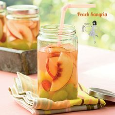 Peach Sangria from Happy Hour Girl Drink Ingredients: Makes 8 cups 1 (750-milliliter) bottle white wine 1 cup peach schnapps 1/2 cup frozen lemonade concentrate, thawed 2 nectarines, sliced 1 cup green or red grapes, whole or sliced How to Mix the Drink: Combine all ingredients in a large pitcher. Cover and chill at least 2 hours or overnight. Stir before serving.