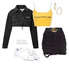 """Untitled #1119"" by thecurvyfashionistaa ❤ liked on Polyvore featuring Off-White, Gucci, Puma and Bony Levy"