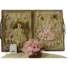 Marvelous Antique Miniature Bisque Doll in Elaborate Trousseau, Circa 1900, For the French Market With Supporting Theriault's Auction Catalogue Included