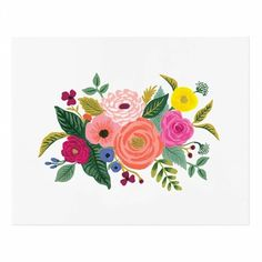 The Rifle Paper Co. floral library continues to grow with new shapes and colors, and this Juliet Rose Art Print features an abundant assortment of blossoms and blooms to brighten up any space! Felt Flower Wreaths, Felt Flowers, Paper Flowers, Art Floral, Decoupage, Illustration Blume, Plant Drawing, Rifle Paper Co, Rose Art