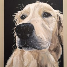 Dog painting, custom pet portrait 12x16