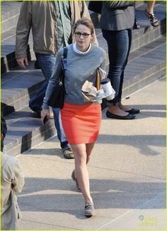 "**10/27/15 ON grey sweater, white short-sleeve button-up, orange pencil skirt, grey flats (Melissa Benoist, ""Supergirl"")"
