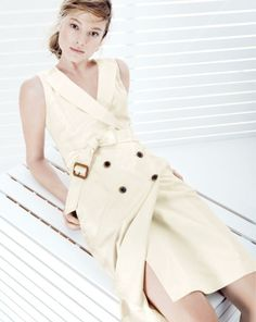 J.Crew women's trench dress in super 120s.    To preorder call 800 261 7422 or email erica@jcrew.com.