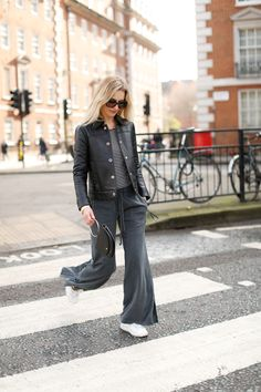 leather jacket, stripes and track pants from Wrap London - The Stylist And The Wardrobe