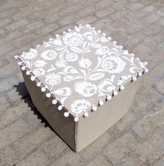 Printed linen ottoman / pouf cover polish folk art by VLiving