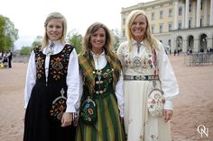 Norwegian bunader (traditional folk costumes) ♥ ♥ ♥.  In Norway and Norsk-Amerikansk communities in the US, Syttende Mai (May 17th), Norwegian Constitution Day, is often celebrated in bunad. A bunad is handmade and hand embroidered with a brooch (sølje) and buttons in silver or gold. The bunad's heritage and craftsmanship make it the most precious and expensive outfit for many, and they are handed down as treasures. The  colors and patterns identify the wearer's home region.