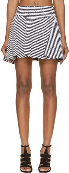 Jay Ahr Navy and White Eyelet Flare Skirt