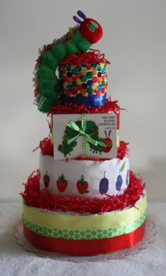 The Very Hungry Caterpillar Diaper Cake by odellsisters on Etsy