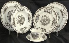 """Mason's -Black """"Fruit Basket;  Dinner Plate (4), Luncheon Plate, Rimmed Salad, Rimmed Soup and Breakfast Cup & Saucer (9)"""