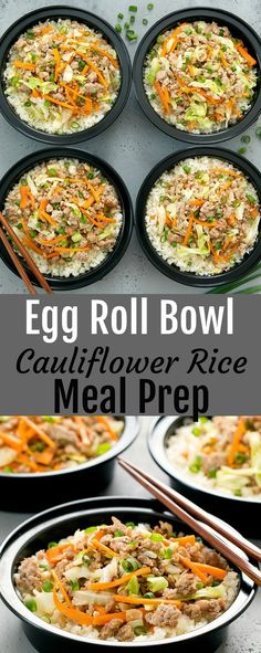 Egg Roll Bowl with Cauliflower Rice Meal Prep. An easy, low carb and flavorful dish.