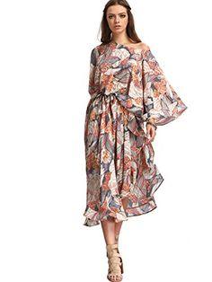 Milumia Women's Boho Floral Print Caftan Sleeve Maxi Dres…