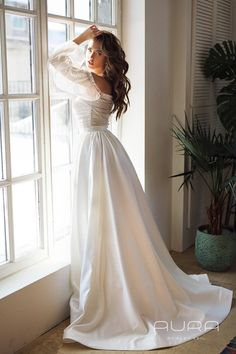 Wedding dress 'Brigitte' from the new AURA line by AlexVeil Bridal, with beautiful off shoulder balloon sleeves, classical satin skirt and beautiful handmade detailing Elegant Wedding Gowns, White Wedding Dresses, Ivory Wedding, Bride Dresses, Perfect Wedding, Dream Wedding, Wedding Day, Wedding Advice, Wedding Planning