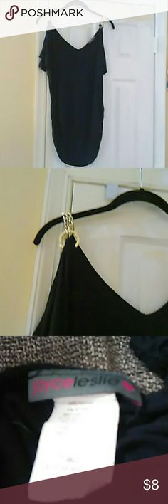 Top Blk, chain shoulders Leslie Joyce Tops Crop Tops