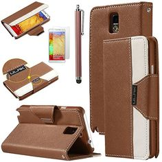 Note 3 Case, Galaxy Note 3 Flip Case - ULAK Luxury PU Leather Colorful Wallet Magnetic Case for Samsung Galaxy Note 3 Note III N9000 with Screen Protector and Stylus (Brown/White) ULAK http://www.amazon.com/dp/B00L9R8F0K/ref=cm_sw_r_pi_dp_ZyGkub0B2E955