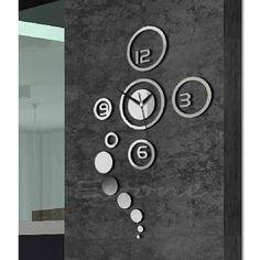 Mirror Style DIY Wall Clock Removable Decal Vinyl Art Wall Sticker Home Decor   eBay