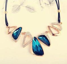 Blue Irregular Crystal Gold #necklaces #pendants Choker Bib Collar Short Chain #jewelry ...
