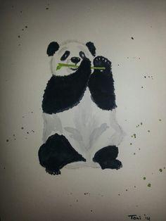 Panda watercolor card (10x14) 06/2014
