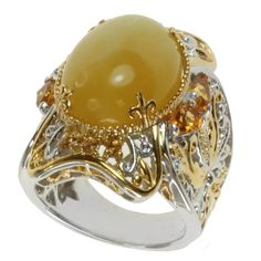 Michael Valitutti Two-tone Yellow Opal, Fire Citrine and Yellow Sapphire Ring