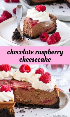Chocolate raspberry cheesecake! With a smooth chocolate cheesecake filling, a sweet-tart raspberry swirl, and a buttery Oreo crust, this rich and decadent dessert is always a hit. Because this recipe uses frozen berries, you can enjoy this cheesecake any time of year! This homemade chocolate cheesecake recipe is perfect for birthdays, holidays, or any day. Homemade Desserts, Homemade Cakes, Easy Desserts, Dessert Recipes, Chocolate Raspberry Cheesecake, Best Cheesecake, Chocolate Desserts, Delicious Recipes, Easy Recipes