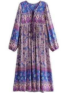 555730f601d R.Vivimos Women Long Sleeve Floral Print Retro V Neck Tassel Bohemian Long  Dresses Bohemian