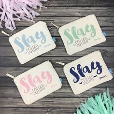 Planning a fab bachelorette party with your SLAY SQUAD?! Our adorable personalized makeup bags are the oh so perfect favor for your girls! An all around awesome memento that they'll get tons of use out of!!