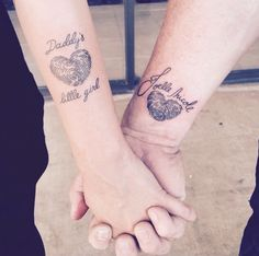 Father and daughter tattoos. Our finger prints together in a heart ❤️