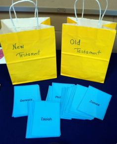 Old and New Testament Books of the Bible - Sorting Game. Using 2 bags - label one Old Testament and the other New Testament. Add cards that have the names of the books of the Bible. Bible Study For Kids, Bible Lessons For Kids, Bible Activities For Kids, Church Activities, Bible Games For Youth, Kids Bible Crafts, Bible School Games, Kids Church Games, New Testament Books