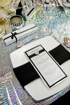 Personalized menu cards eliminate the need for additional placecards on the table. These were designed by Creative Weddings Stationary Designs for Holly Golightly and friends, incorporating a bit of black lace a touch of diamond bling! (Photo courtesy of @Christy Polek Polek Swanberg)