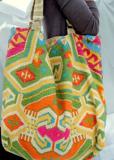 Large beach tote bag,  in pink, yellow, orange and green. And its reversible!