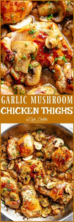 Golden seared chicken thighs in a delicious, buttery garlic mushroom sauce with a sprinkle of herbs is THE weeknight dinner everyone raves about! Serve over rice, pasta, mashed potatoes OR lower carb options like mashed cauliflower or zucchini noodles! Turkey Recipes, Meat Recipes, Cooking Recipes, Healthy Recipes, Dinner Recipes, Recipies, Freezer Cooking, Meatloaf Recipes, Top Recipes