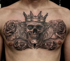 Skull with crown tattoo, roses tattoo, chest piece, chest tattoo, black and grey realism tattoo,