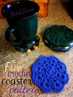 Crochet Coaster  free pattern from Stitch 11  uses Clean Print