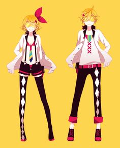 The are the mirror images rin and Len kagamine (kagami means mirror image and it's also my username for just about everything)