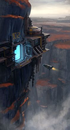 ArtStation - Cliff Port, Dave Jones - This concept helps me visualise how Alex's base might look. I've always liked the idea that of a cliff entrance. Concept Art Landscape, Fantasy Landscape, Environment Concept Art, Environment Design, Space Ship Concept Art, Sci Fi Kunst, Science Fiction Kunst, Sf Wallpaper, Sci Fi City