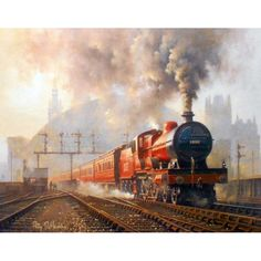 Fine Art Prints of Railway Scenes & Train Portraits - St Pancras Departure by Philip D Hawkins Train Illustration, Art Transportation, Train Art, Rail Train, Rail Transport, Steam Railway, Bonde, Railway Museum, British Rail