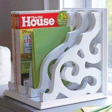 From Home Depot. Paint brackets whatever color, glue each one together and make a great magazine, book, or mail holder.