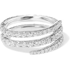 Anita Ko Coil 18-karat white gold diamond ring (24.374.250 COP) ❤ liked on Polyvore featuring jewelry, rings, spiral diamond ring, diamond cocktail rings, diamond rings, spiral ring and diamond wrap ring
