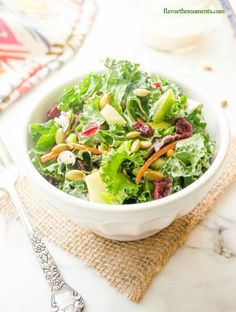 kale-slaw-with-apples-cranberries-and-creamy-maple-dressing2 | flavorthemoments.com