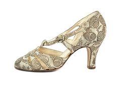 Gold/Cream Brocade Wedding Shoes, USA, 1932-37